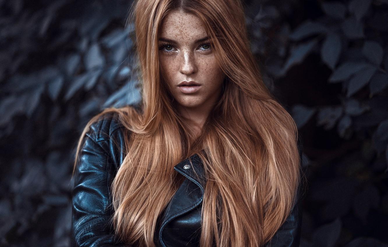 Photo wallpaper look, model, hair, portrait, freckles, red, redhead, freckled, Anatoly Oskin, Lara Vogel