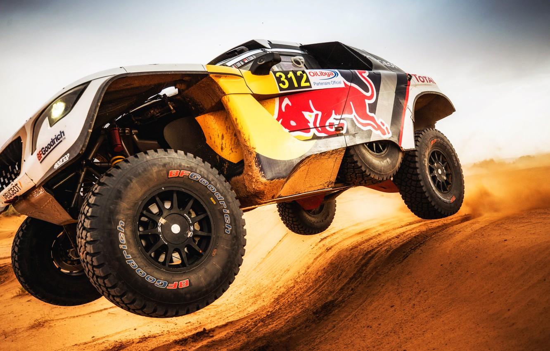 Photo wallpaper Sand, Auto, Sport, Machine, Speed, Wheel, Peugeot, Red Bull, Rally, Dakar, Dakar, SUV, Rally, Sport, …