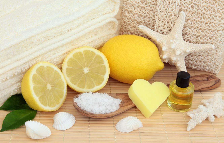 Photo wallpaper lemon, soap, shell, lemon, bath, still life, candle, spa, starfish, salt, oil, seashells