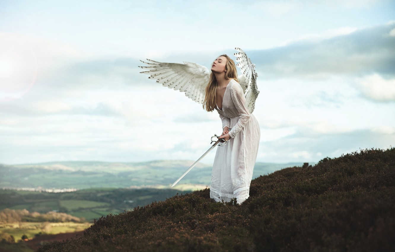Photo wallpaper chest, the sky, girl, clouds, mountains, pose, weapons, fantasy, mood, height, wings, the situation, angel, …