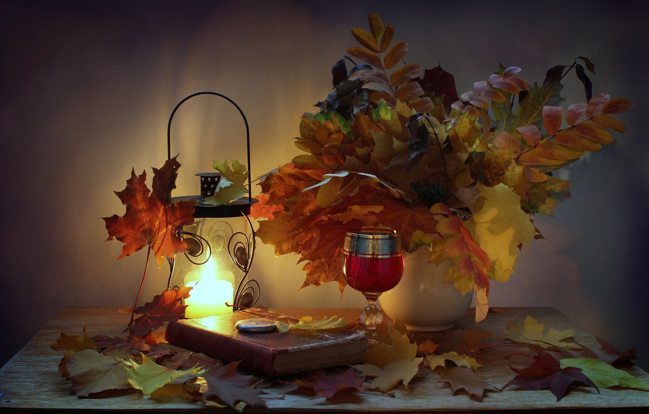 Photo wallpaper autumn, leaves, watch, candle, the evening, flashlight, book, still life, candle holder