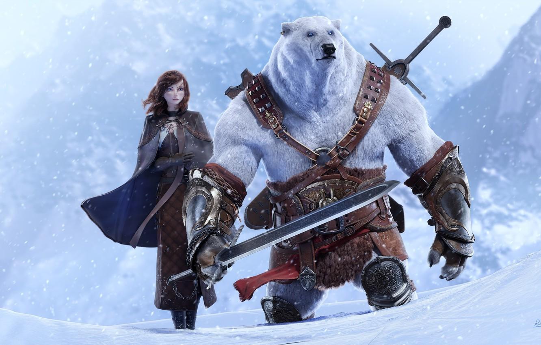 Photo wallpaper snow, art, bear, girl, fantasy, pole, Epic Quest, rico cilliers