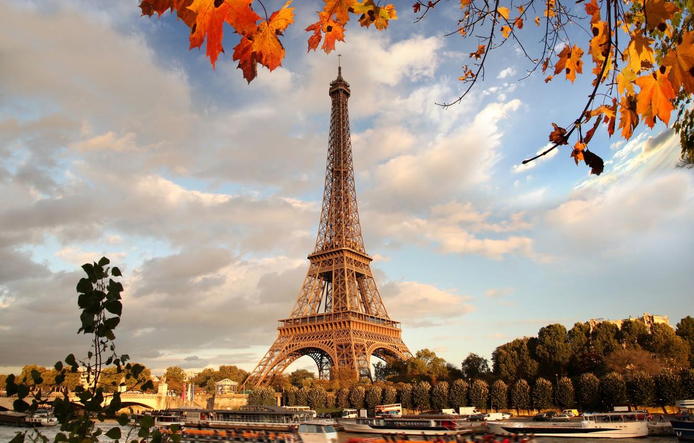 Photo wallpaper autumn, France, Paris, Paris, river, France, autumn, leaves, Eiffel Tower, cityscape