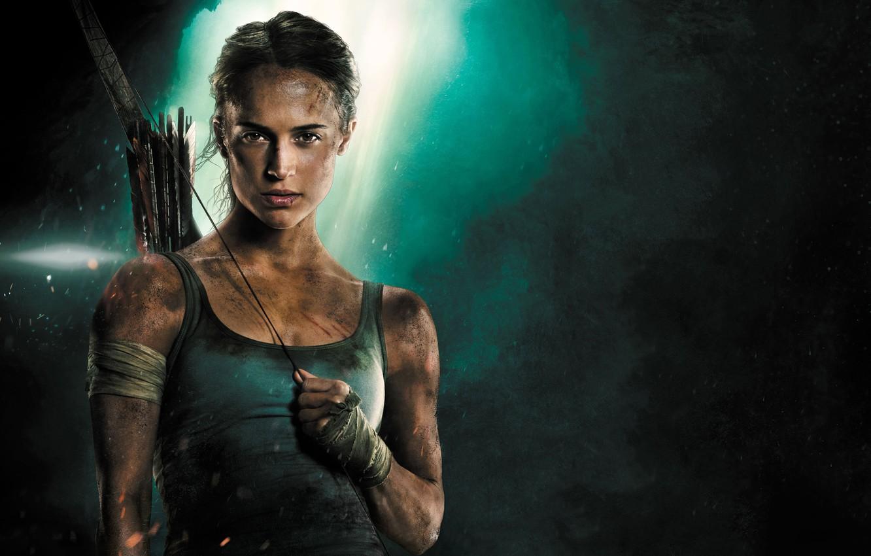 Photo wallpaper girl, background, Mike, bow, Tomb Raider, Lara Croft, arrows, adventure, action, poster, bandages, Alicia Vikander, …