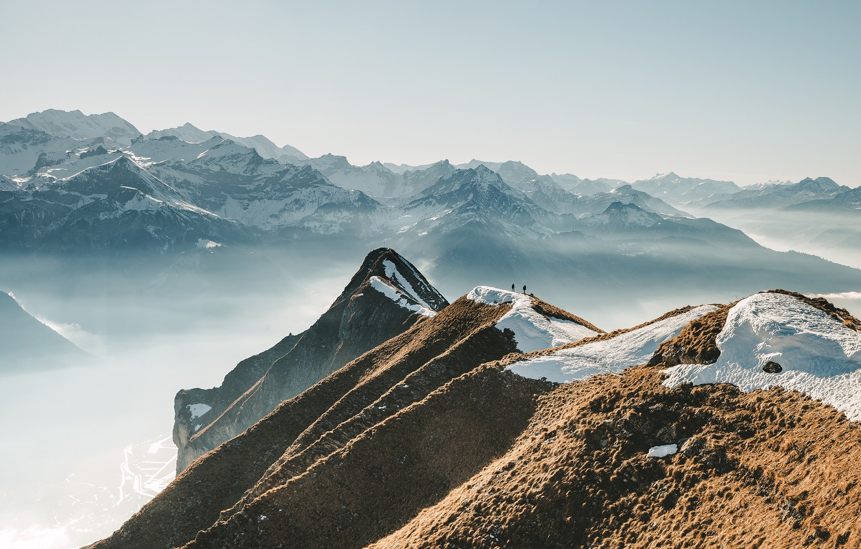 Wallpaper Snow Mountains Fog People Mountains Alps