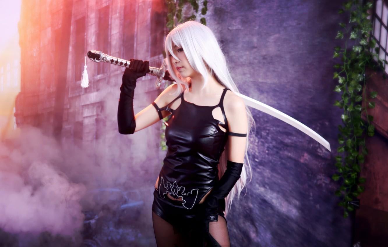 Photo wallpaper sword, katana, figure, girl