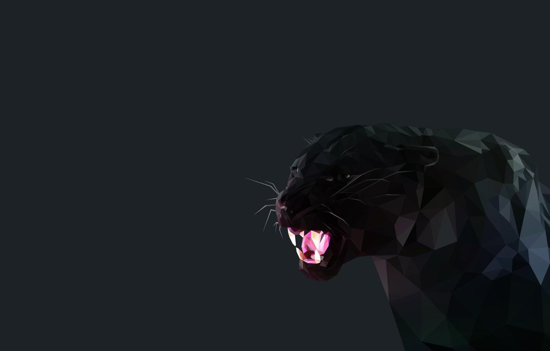 Photo wallpaper black, Minimalism, fangs, Black Panther