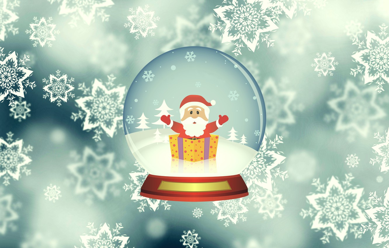 Photo wallpaper Winter, Minimalism, Snow, Ball, Snowflakes, Background, New year, Santa, Holiday, Santa Claus, Glass globe