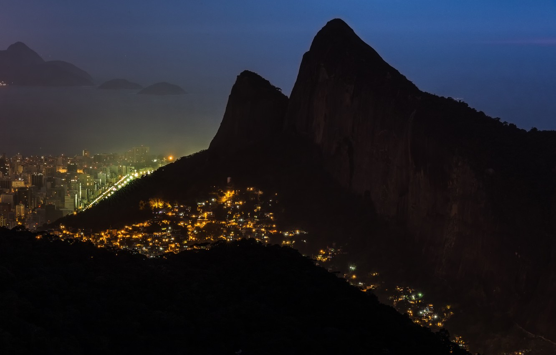 Photo wallpaper mountains, night, the city, lights, panorama, Rio de Janeiro