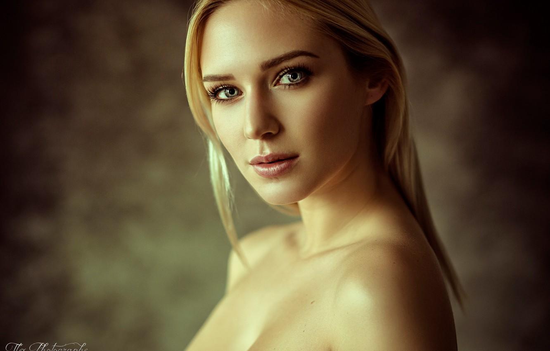 Photo wallpaper look, background, portrait, makeup, hairstyle, blonde, beauty, bokeh, Eva Mikulski