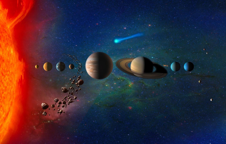 Photo wallpaper planet, Saturn, stars, asteroids, comet, Earth, Mars, Jupiter, Neptune, Mercury, Venus, Uranium, KOMOS, Solar System, ...