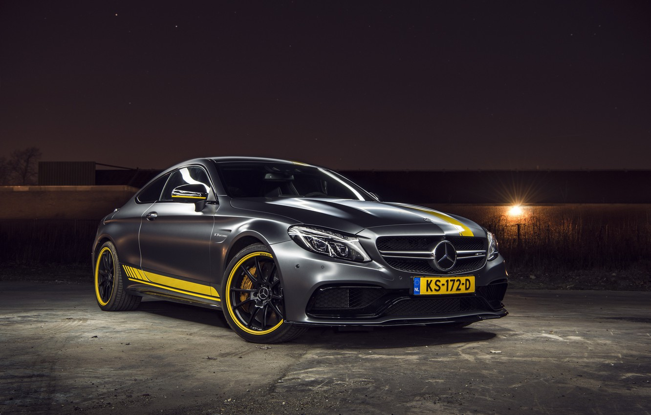 Photo wallpaper Mercedes, AMG, Coupe, Night, C63, Edition 1