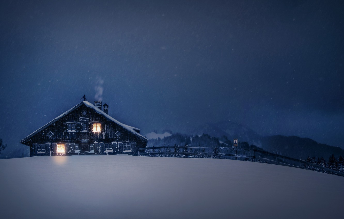 Photo wallpaper winter, night, house