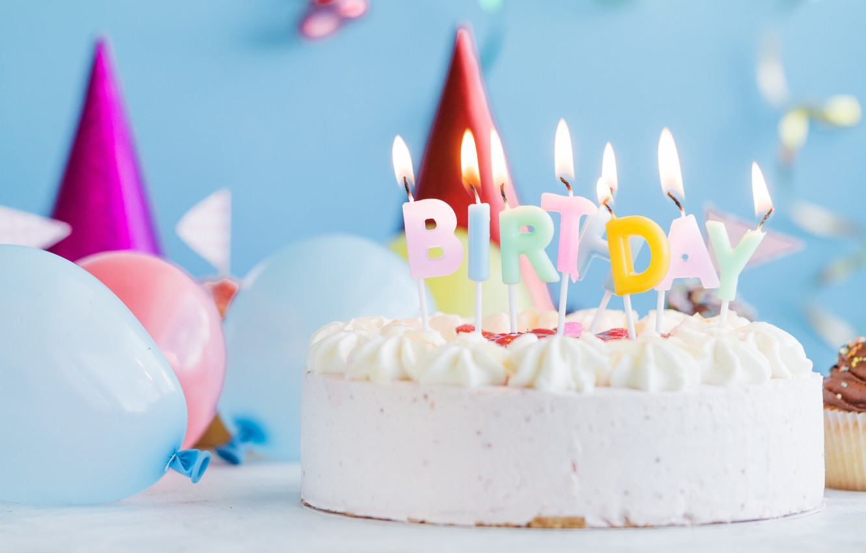 Photo wallpaper holiday, balls, candles, cake, birthday