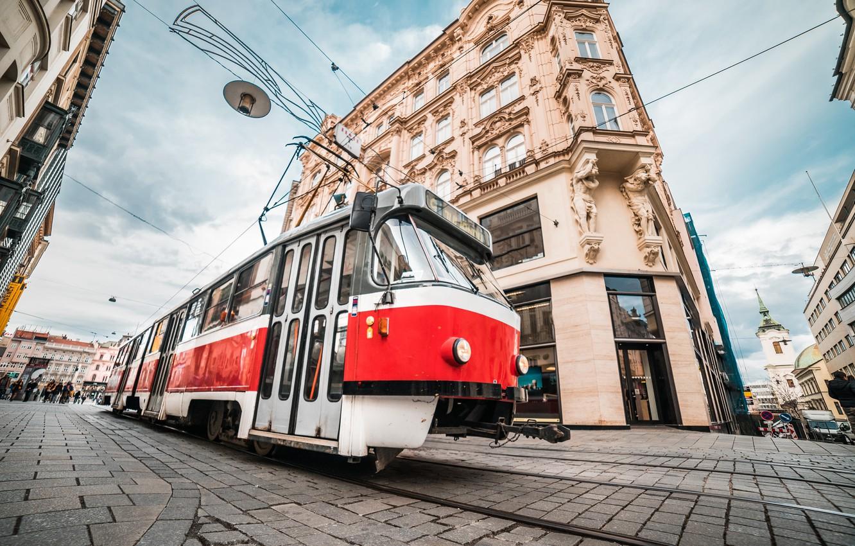 Photo wallpaper the city, street, the building, Czech Republic, tram, Czech Republic