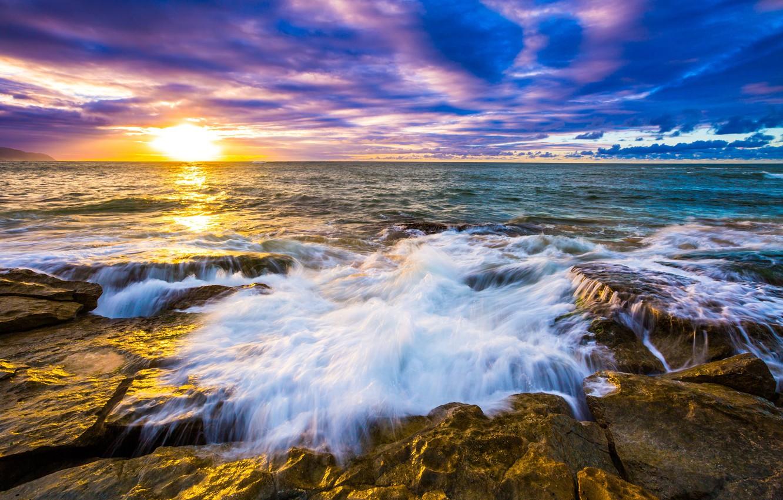 Wallpaper Sea The Sky The Sun Clouds Stones Dawn Shore