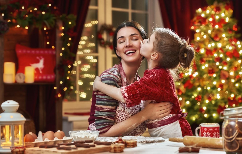 Photo wallpaper joy, holiday, new year, mom, daughter