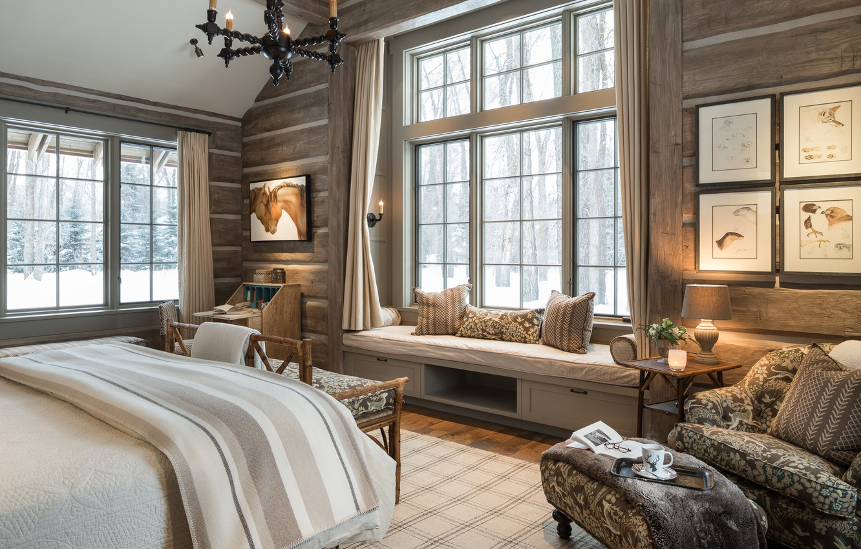 Photo wallpaper design, bed, chair, window, bedroom
