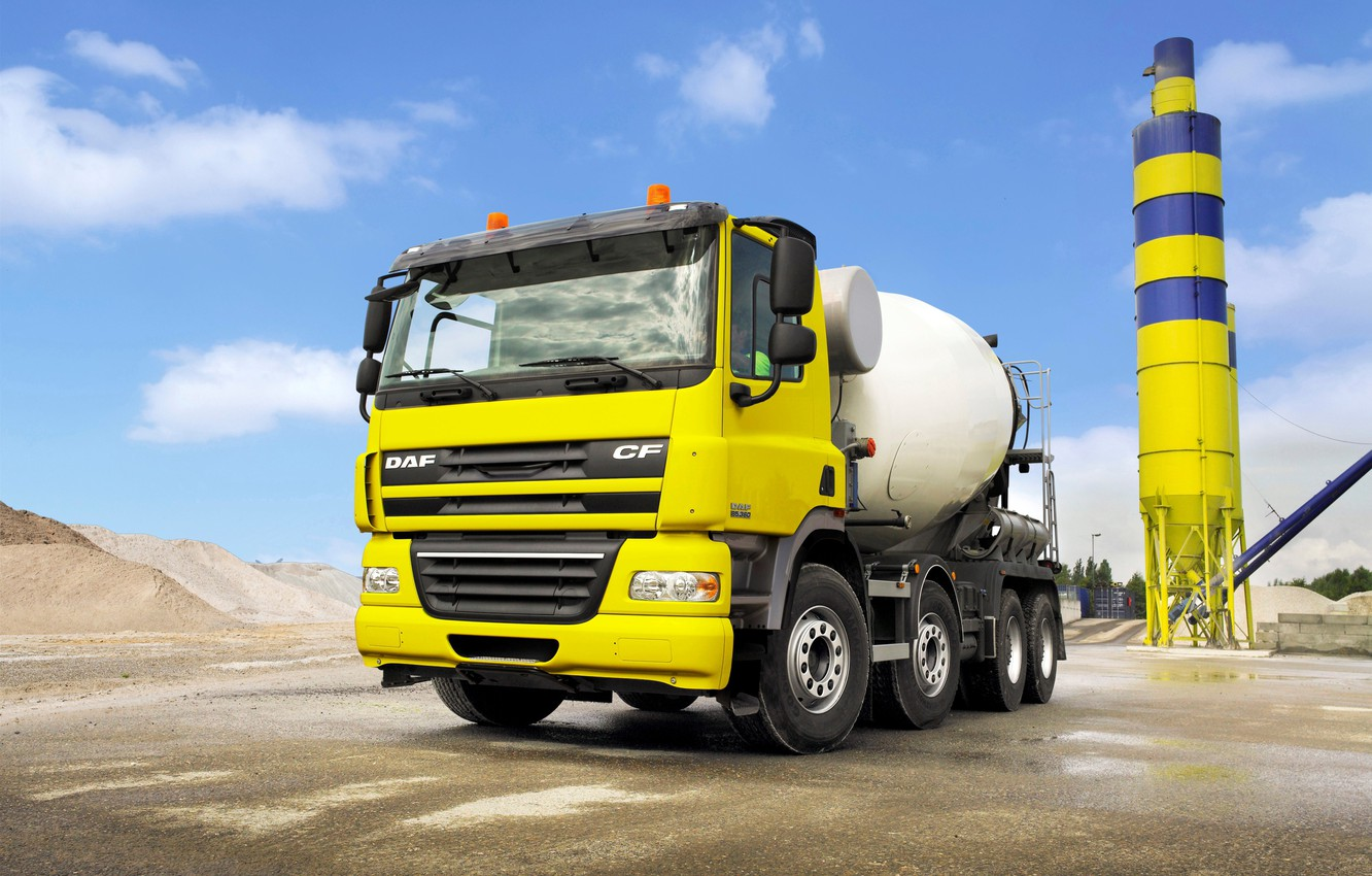 Photo wallpaper yellow, industrial zone, tractor, DAF, DAF, 8x4, concrete mixer, DAF CF85.360