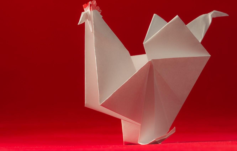 Photo wallpaper paper, bird, origami, cock