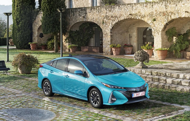 Photo wallpaper Blue, Toyota, Car, Hybrid, Prius, Metallic, Plug-in, 2016-17