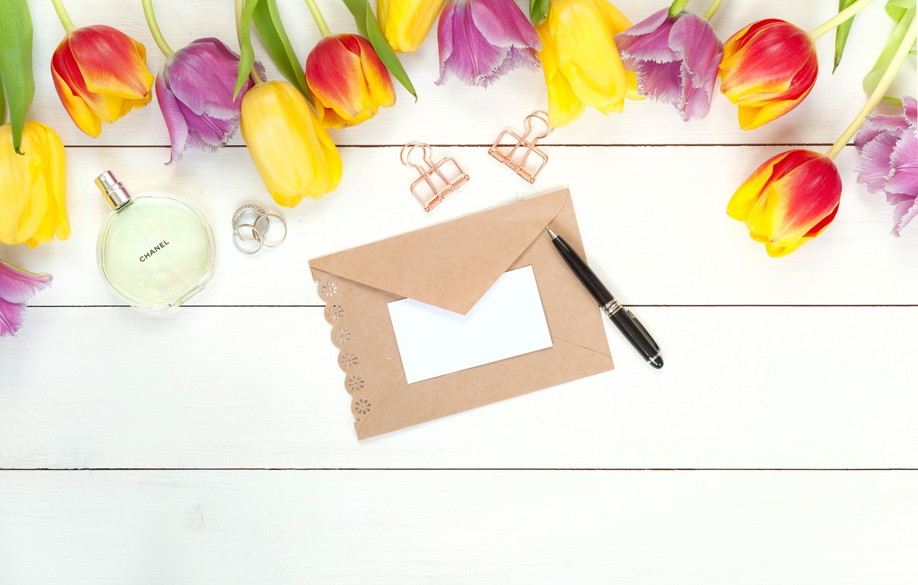 Photo wallpaper letter, flowers, spring, perfume, colorful, handle, tulips, fresh, wood, flowers, beautiful, tulips, spring, bright