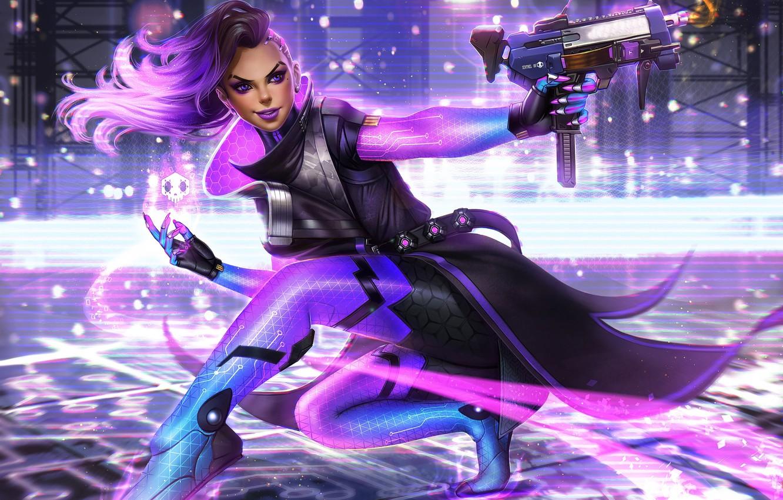 Photo wallpaper girl, gun, blizzard, art, Overwatch, Machine Pistol, Sombra