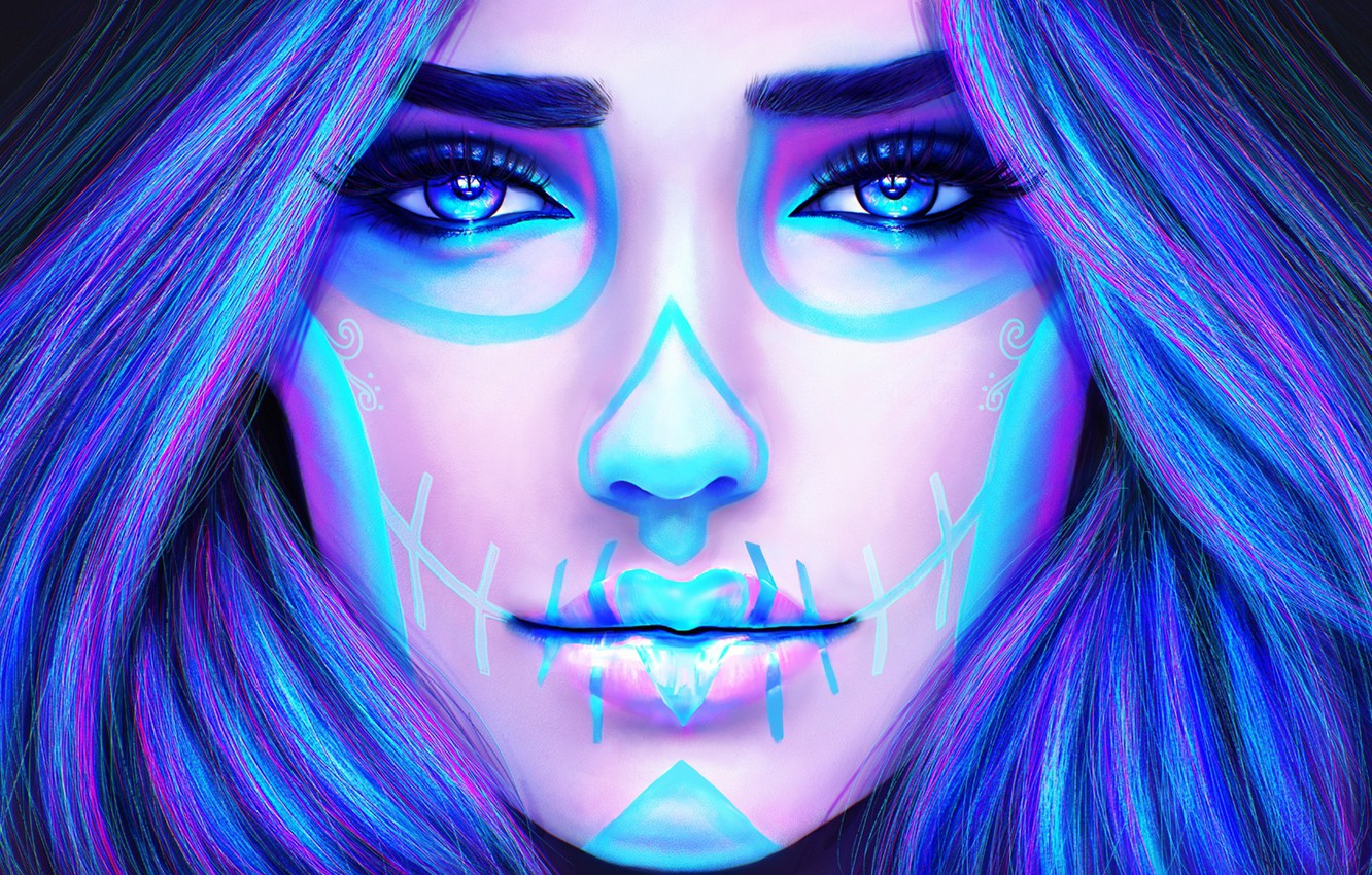 Photo wallpaper girl, face, hair, beauty, makeup, tattoo, art, day of the dead, day of the dead, …