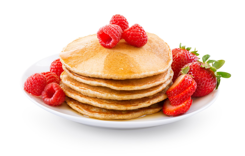 Photo wallpaper Strawberry, Berries, Plate, Food, Raspberry, Pancakes