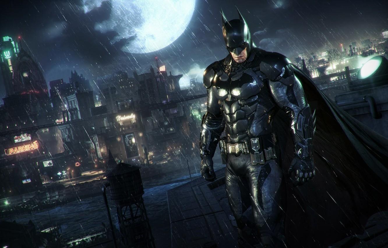 Photo wallpaper Night, The city, The game, The moon, Rain, Batman, Costume, City, Hero, Mask, Moon, Cloak, …