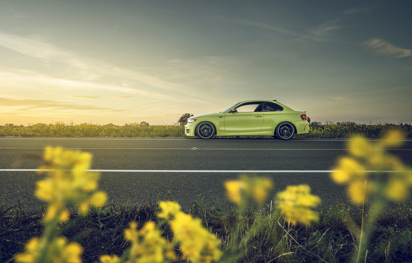 Photo wallpaper BMW, Car, Yellow, Side, 135i, Sport