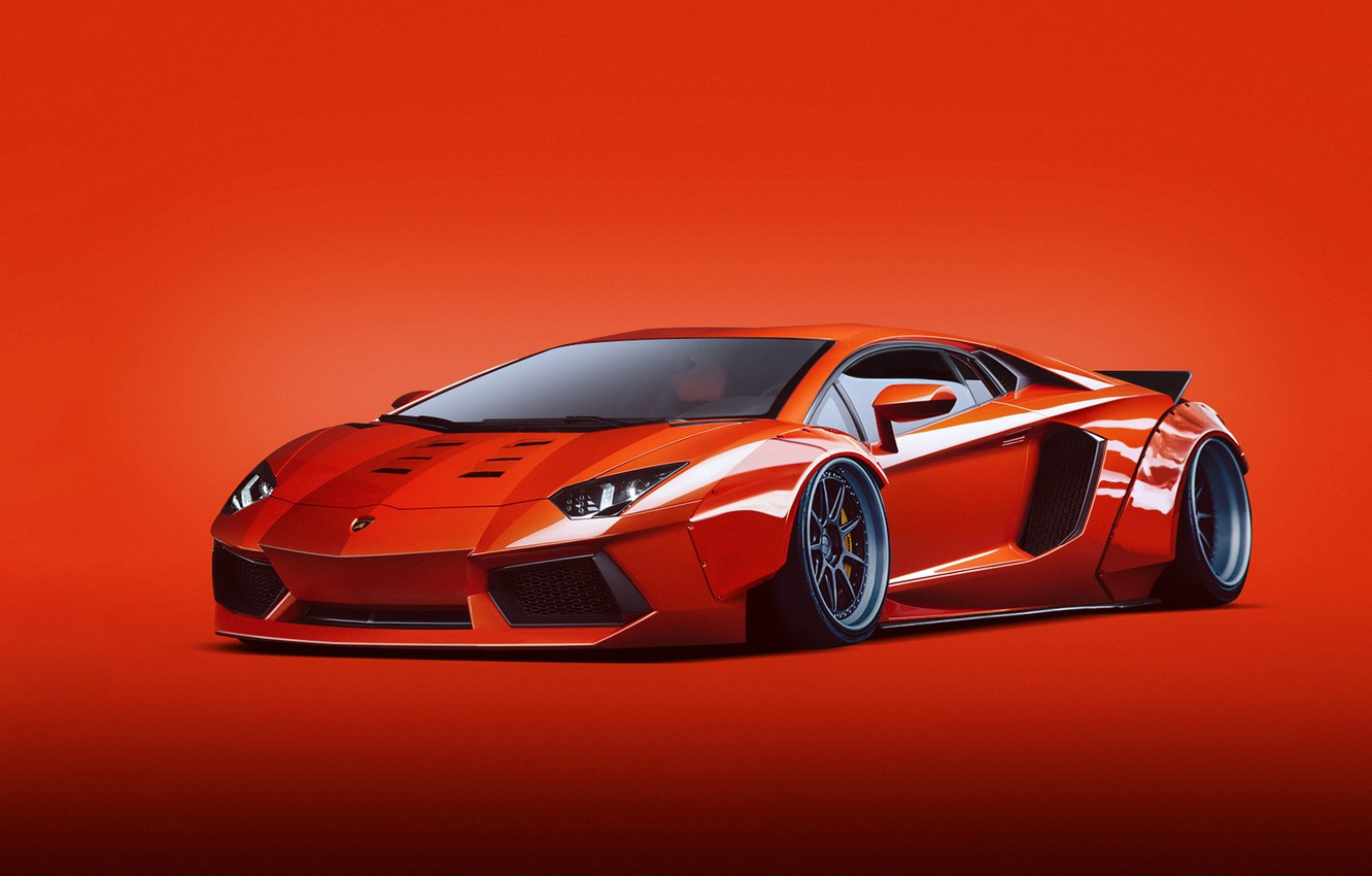 Photo wallpaper Lamborghini, Orange, LP700-4, Aventador, Liberty, Walk