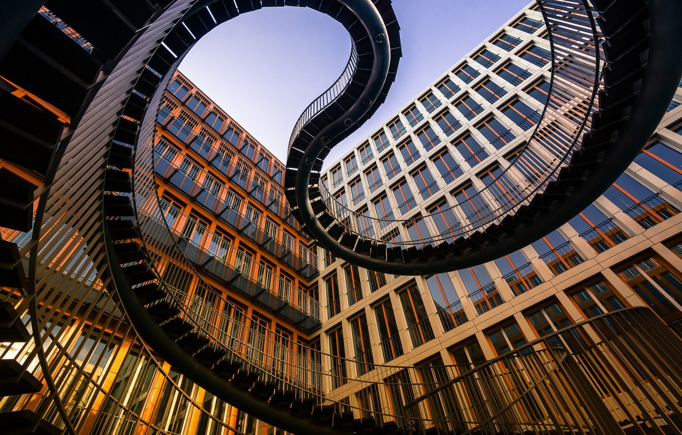 Photo wallpaper the building, Germany, Munich, ladder, architecture