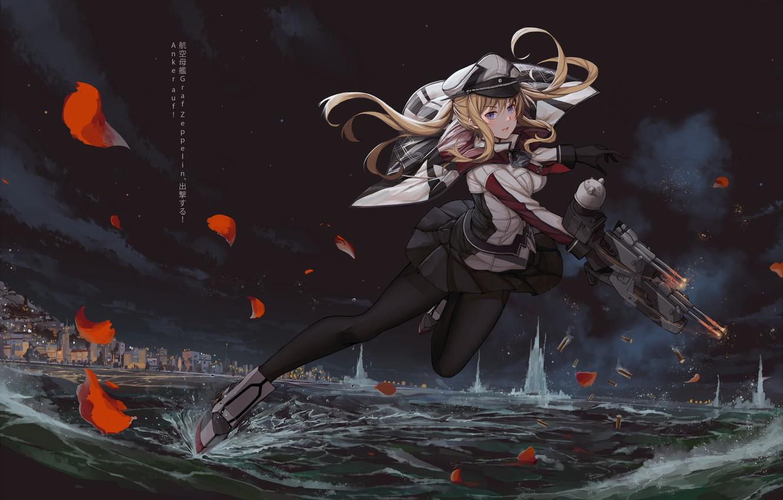 Photo wallpaper water, girl, weapons, petals, anime, art, Kantai Collection