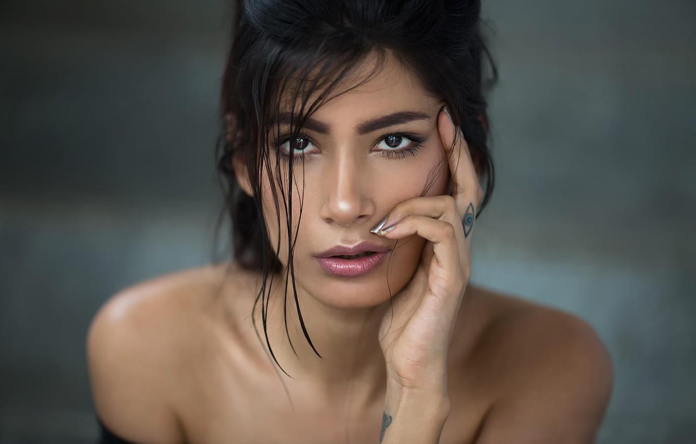 Photo wallpaper portrait, makeup, tattoo, India, Aasttha, indian model, Maharashtra