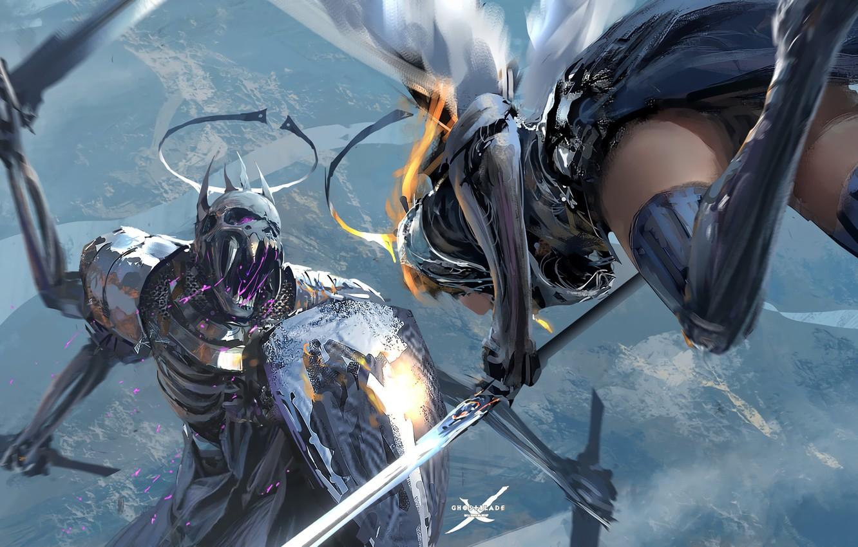 Photo wallpaper Girl, Figure, Monster, Armor, Girl, Fight, Swords, Monster, Art, Art, Shield, Armour, Shield, Fight, Swords, …