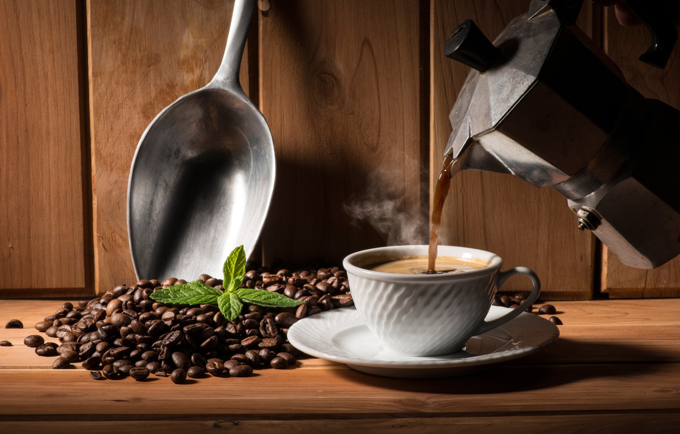 Photo wallpaper leaves, coffee, hot, couples, Cup, saucer, grain, teapot, scoop, coffee pot