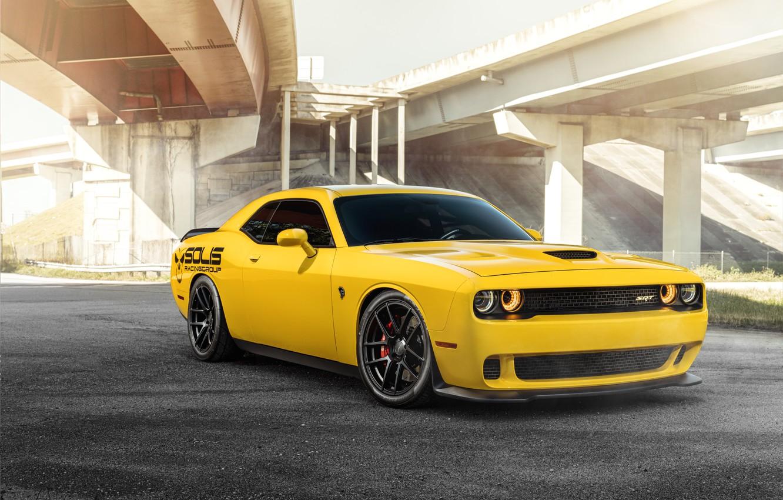 Photo wallpaper yellow, design, Dodge Challenger, SRT