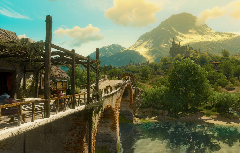 Photo wallpaper forest, bridge, river, castle, the witcher 3 wild hunt