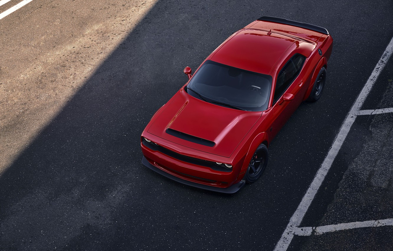 Photo wallpaper Challenger, red, sportcar, 2018, musclecar, SRT, Demon