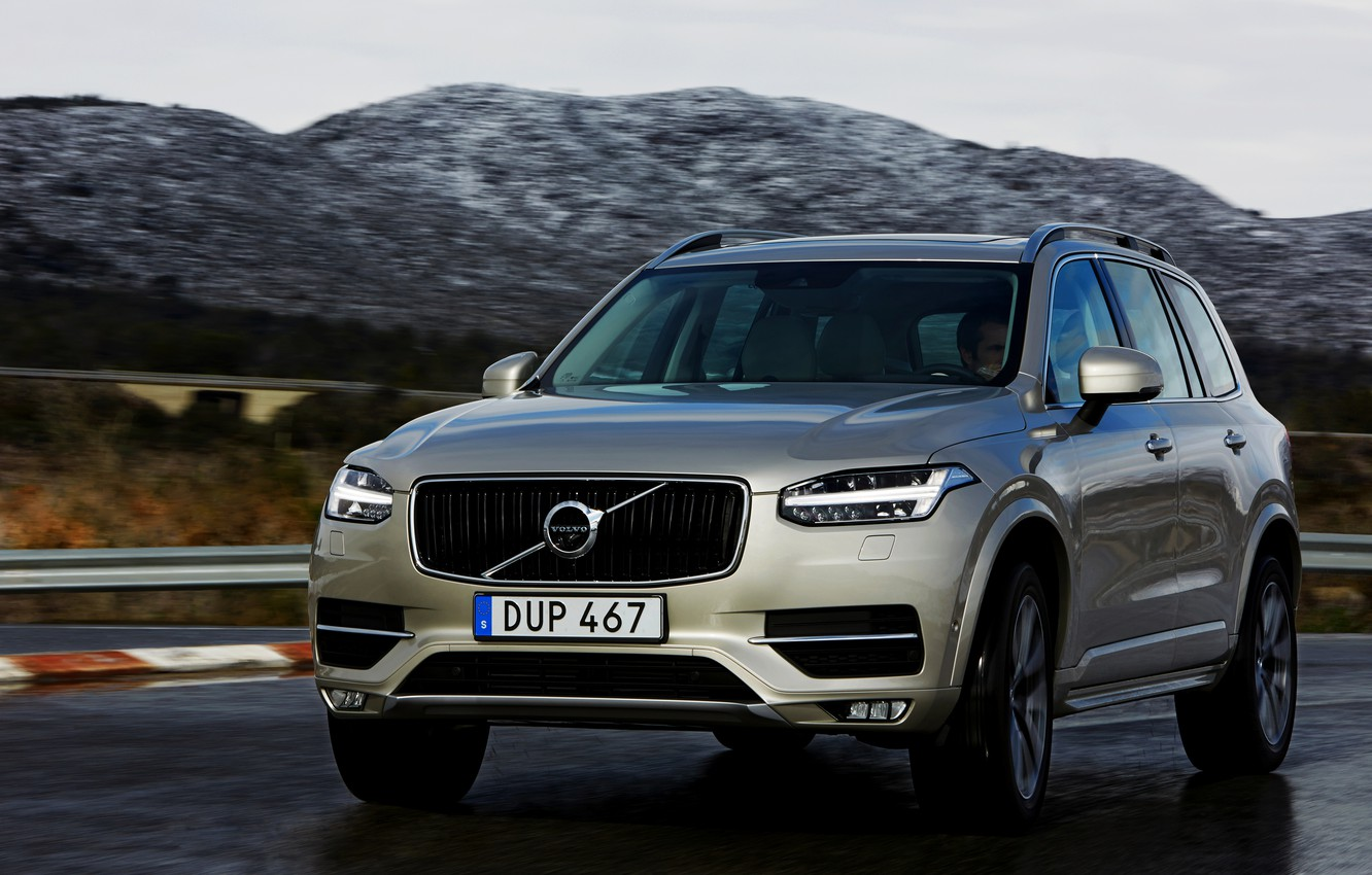 Photo wallpaper road, the sky, mountains, Volvo, XC90, T8 Twin Engine