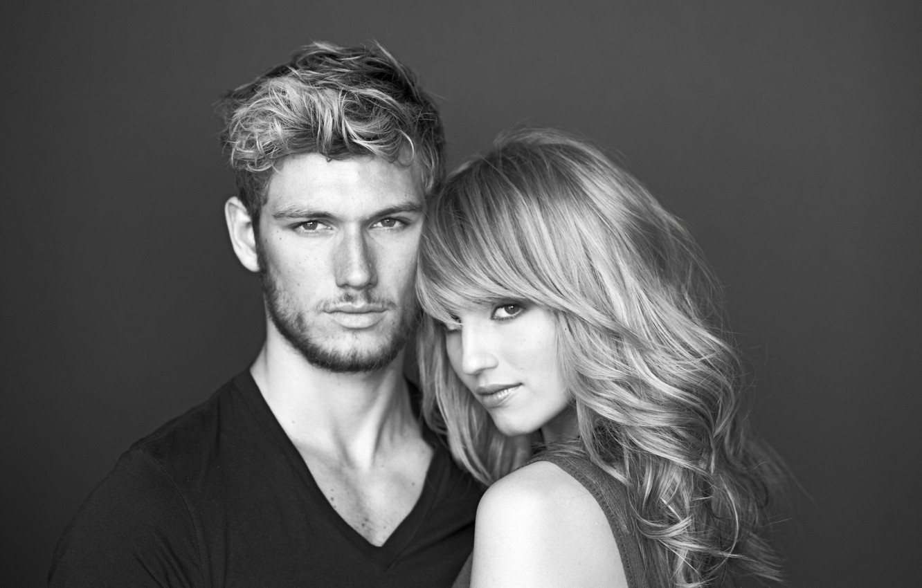 Photo wallpaper actress, actor, black and white, celebrity, Dianna Agron, Alex Pettyfer