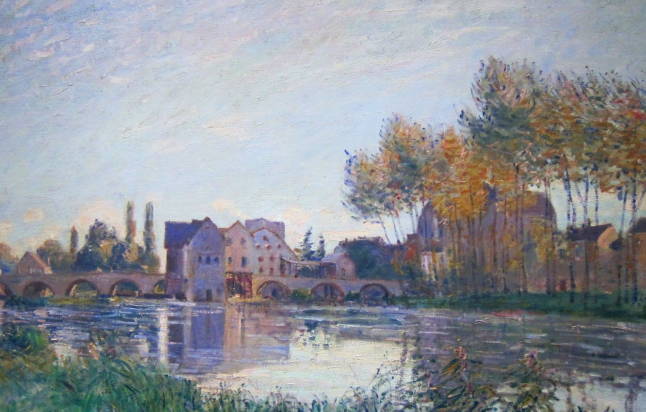 Photo wallpaper autumn, trees, landscape, bridge, river, home, picture, Alfred Sisley, Alfred Sisley, Sea-sur-Loing. Sunset