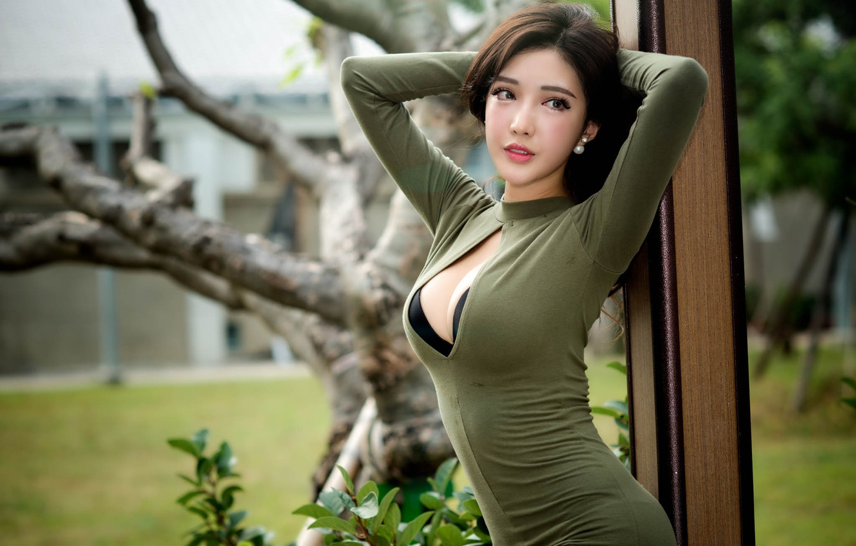 Photo wallpaper chest, girl, Asian, Chang