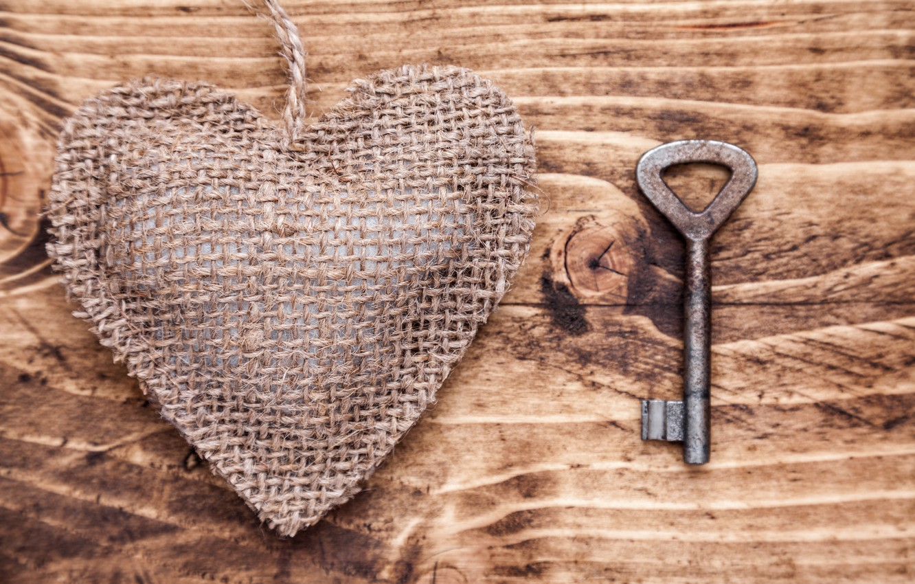 Photo wallpaper love, tree, romance, heart, key, love, heart, wood, key, romantic