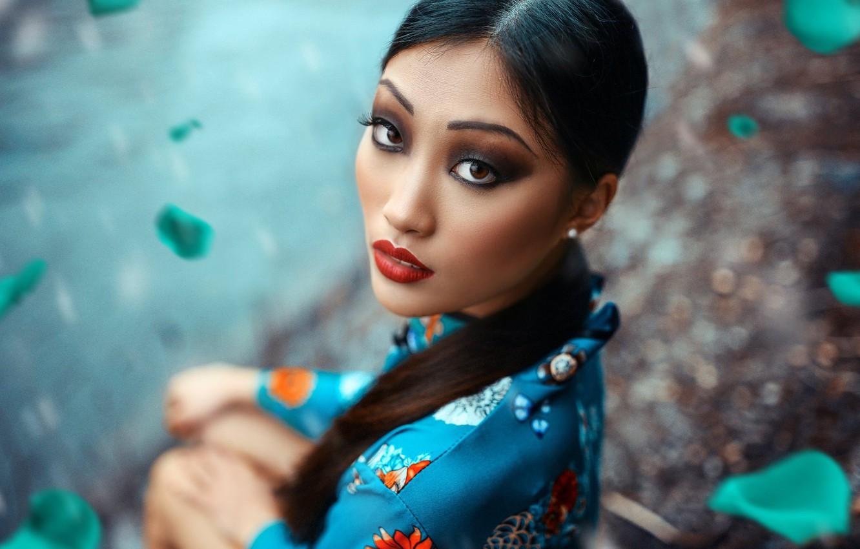 Photo wallpaper look, face, portrait, makeup, Chinese, Asian, Alessandro Di Cicco, Joy Li