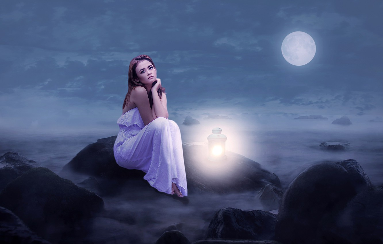Photo wallpaper the sky, girl, clouds, light, night, fog, the moon, dress, art, lantern, beautiful, sitting, in …