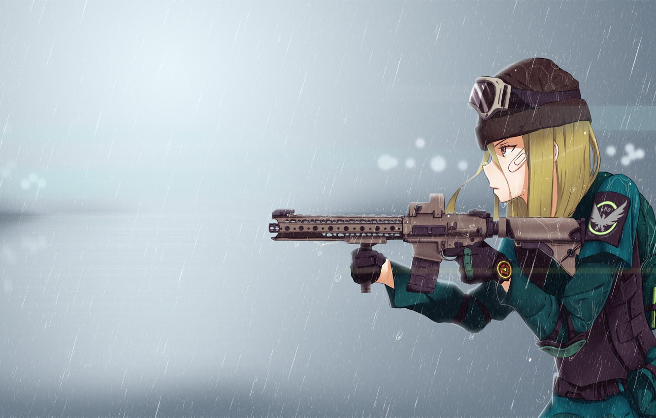Photo wallpaper girl, gun, game, military, weapon, anime, rifle, Tom Clancy's, seifuku, Tom Clancy's The Division, The …