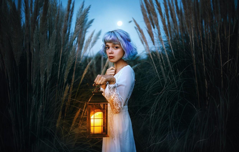 Photo wallpaper look, girl, the reeds, mood, dress, lantern, blue hair, Valentina Diaz