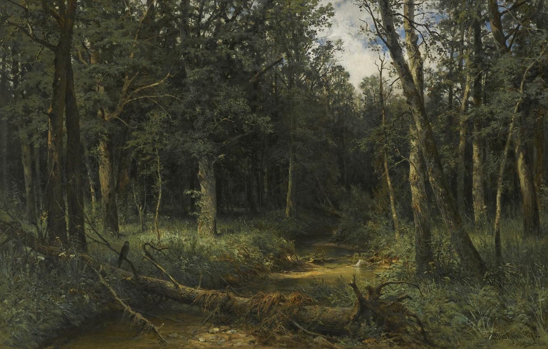 Photo wallpaper forest, landscape, picture, Ivan Ivanovich Shishkin, Dark Wood